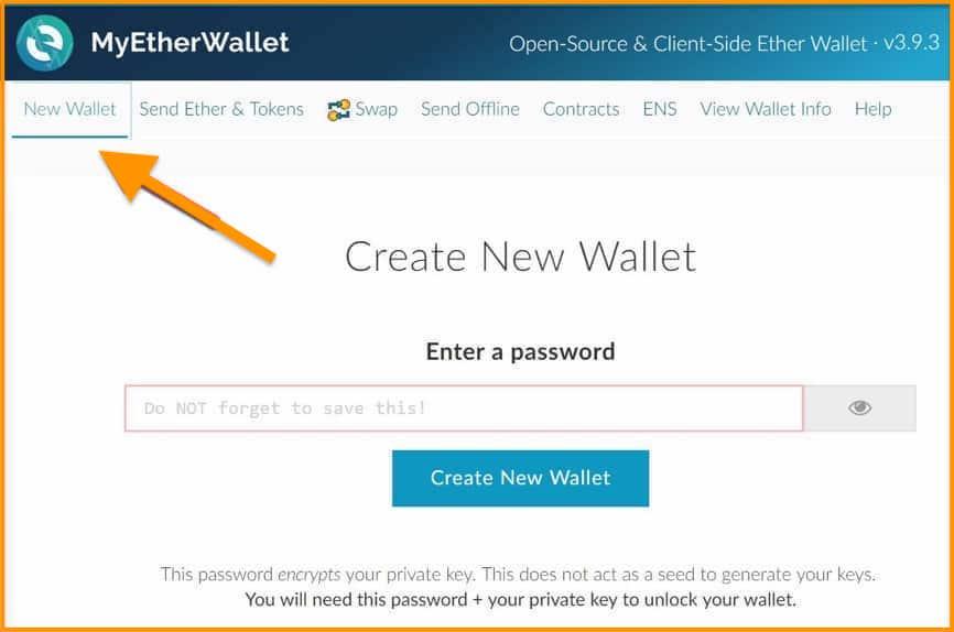 نحوه ایجاد کیف پول MyEtherWallet