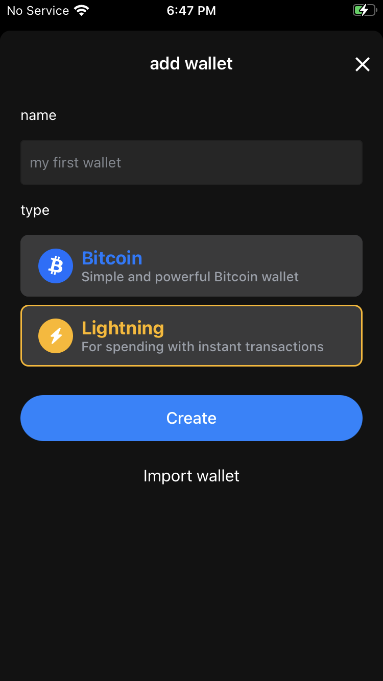 ایجاد کیف پول Blue Wallet روی شبکه لایتنینگ