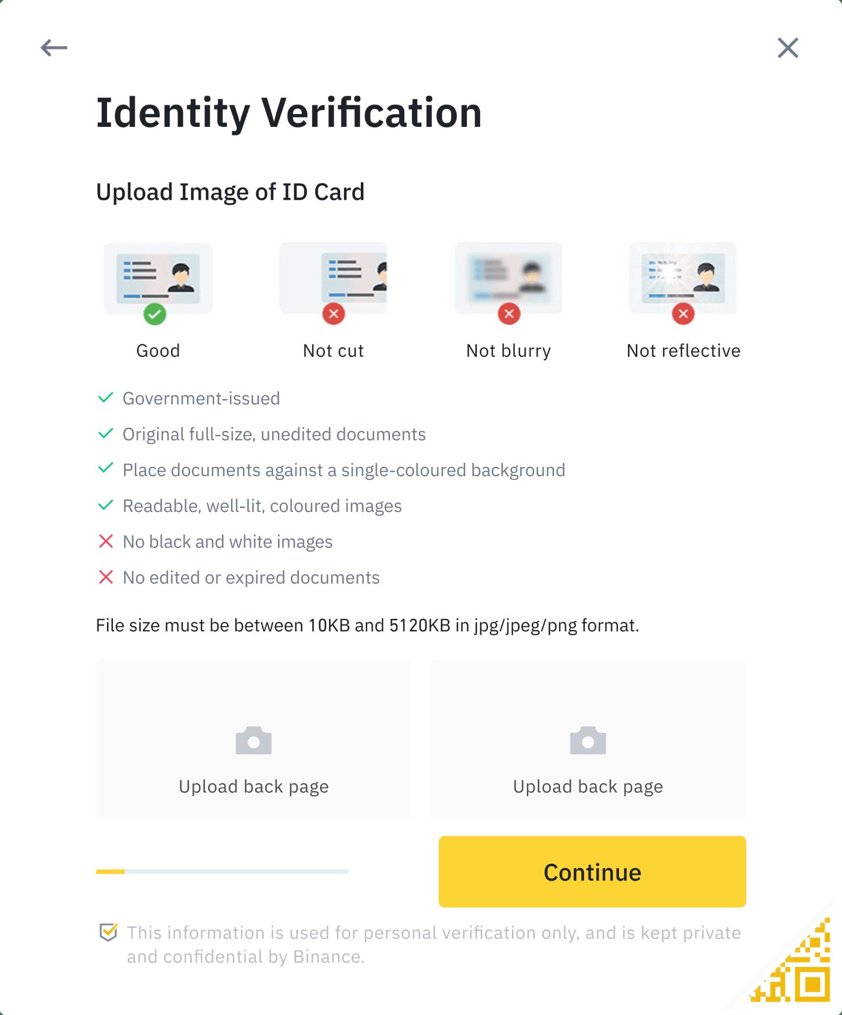 احراز هویت و بارگذاری مدارک در بایننس
