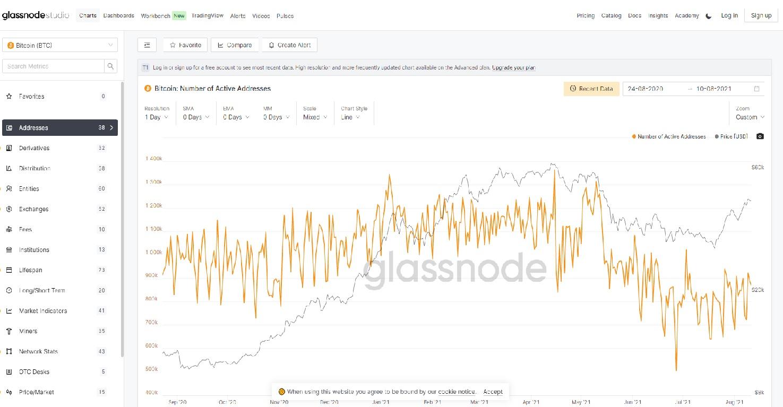 تحلیل نمودار آدرس های فعال بیت کوین در گلس نود